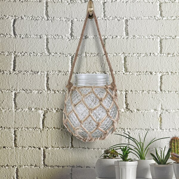 Roseanne Woven Rope Cage Glass Lantern Votive by Highland Dunes