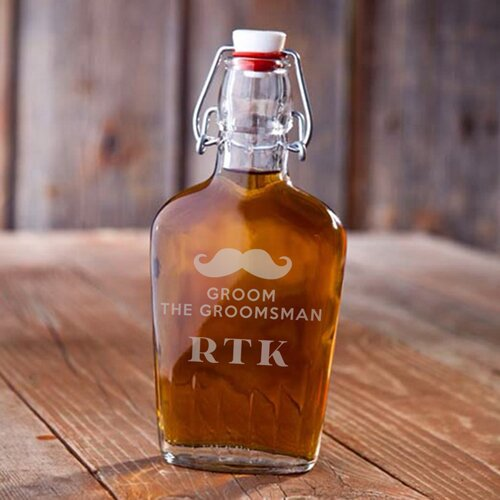 Vintage Glass Flask Groom the Groomsmen by JDS Personalized Gifts