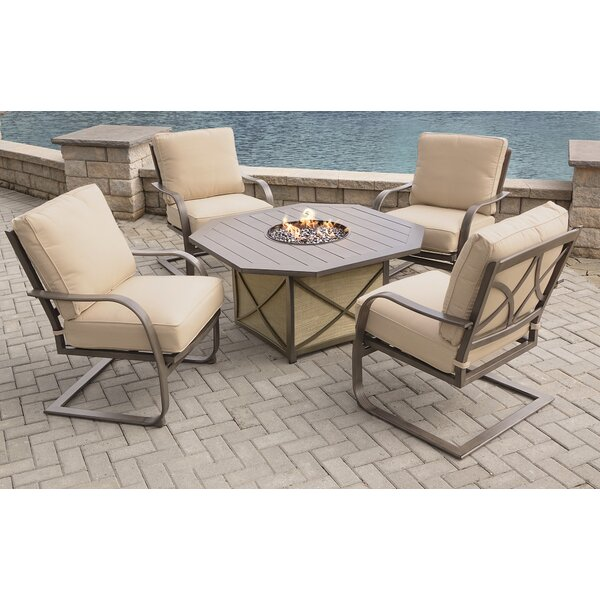 Drees 5 Piece Sunbrella Dining Set with with Cushions by Red Barrel Studio