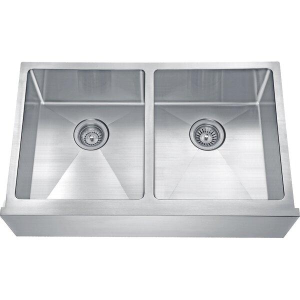 Apron 32 L x 20 W Double Bowl Undermount Kitchen Sink by Daweier