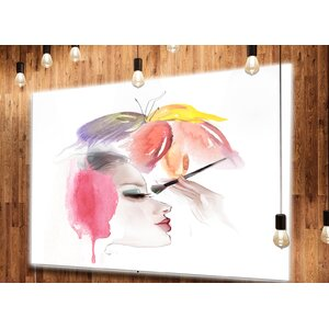 'Eye Lash Face Woman Cosmetic' Graphic Art on Metal by Design Art