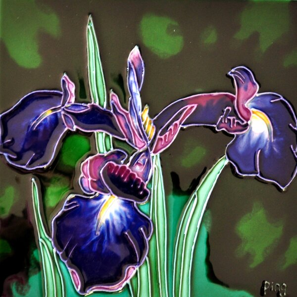 Single Purple Iris Tile Wall Decor by Continental Art Center