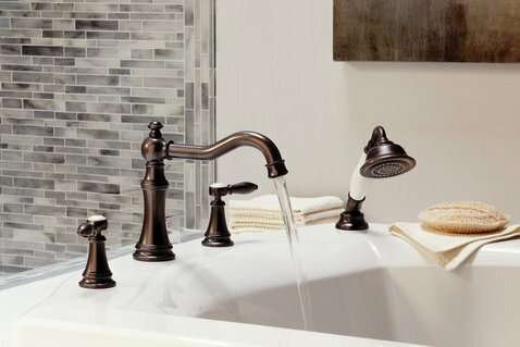 Weymouth Two Handle Diverter Roman Tub Faucet by Moen