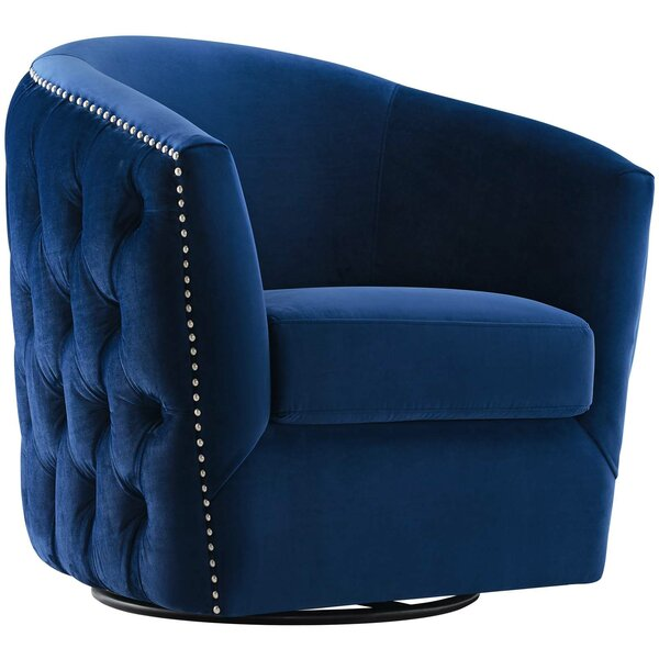 Mckinnon Performance Velvet Swivel Barrel Chair by Rosdorf Park
