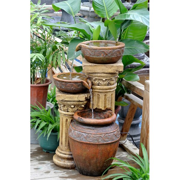 Resin/Fiberglass Classic  3-Pot and Column Water Fountain with LED Light by Jeco Inc.