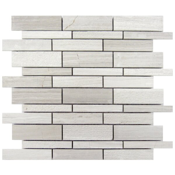 Random Sized Wood Mosaic Tile in Gray by Luxsurface