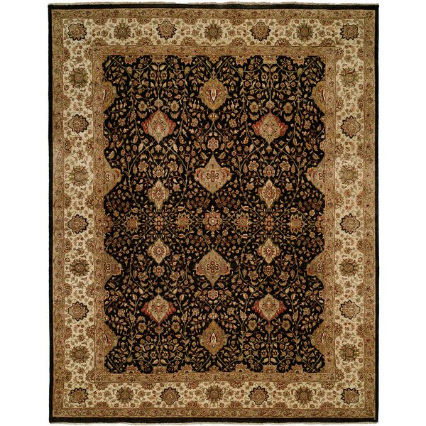 Diphu Hand-Knotted Black/Ivory Area Rug by Meridian Rugmakers