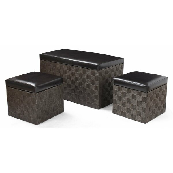 3 Piece Storage Ottoman Set by Adeco Trading