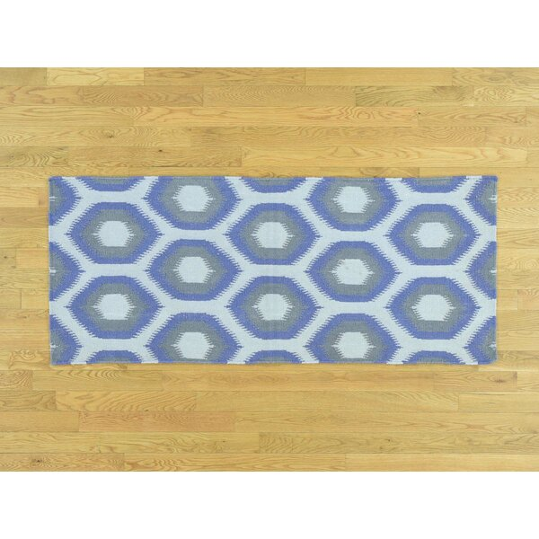 One-of-a-Kind Braswell Geometric Design Reversible Handmade Kilim Ivory Wool Area Rug by Isabelline