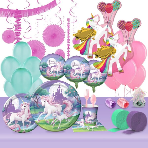 133 Piece Unicorn Fantasy Ultimate Paper Disposable Party Supplies Set [NA]