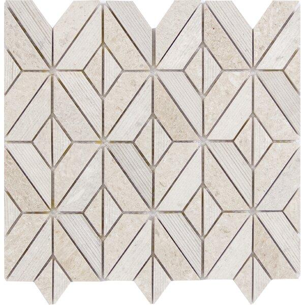 Presidio Rhombus Limestone Mosaic Tile in Ivory by Emser Tile