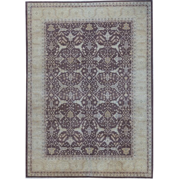 One-of-a-Kind Hand-Knotted Brown/Ivory 9'10 x 13'8 Wool Area Rug