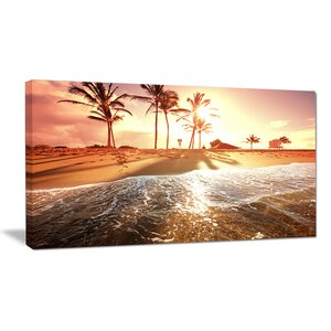 Colorful Tropical Beach with Palms Modern Beach Photographic Print on Wrapped Canvas by Design Art