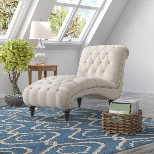 Forestport Traditional Rolled Back Chaise Lounger with Diamond Shaped Tufting