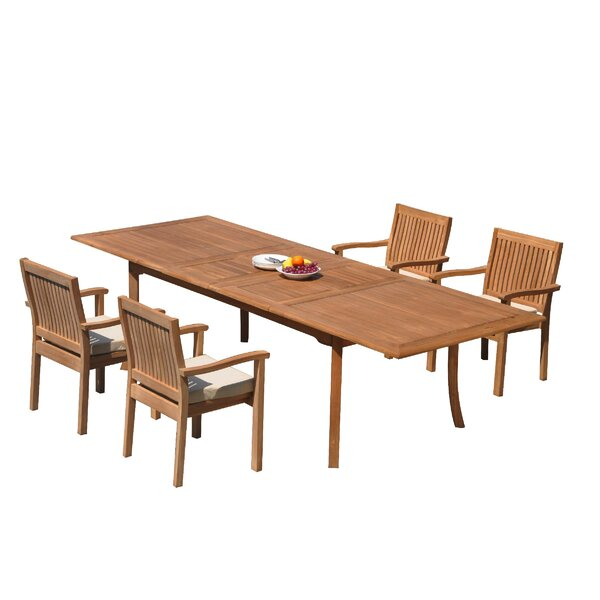 Mashburn 5 Piece Teak Dining Set by Rosecliff Heights