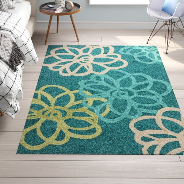 Chester Floral Hand-Hooked Blue/Green Indoor/Outdoor Area Rug by Trule Teen