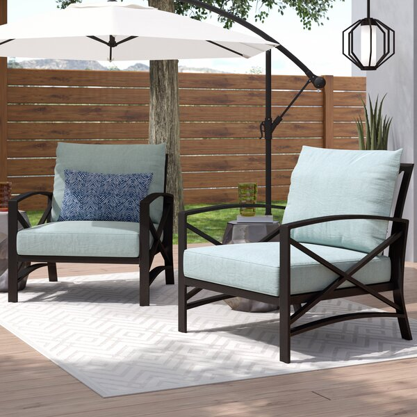 Emmett Patio Chair with Cushions (Set of 2) by Ivy Bronx