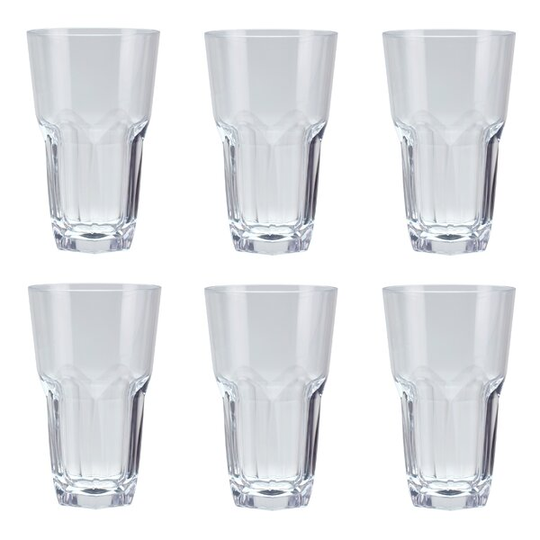 Cecille 23 oz. Plastic/Acrylic Iced Tea Glass (Set of 6) by Red Barrel Studio