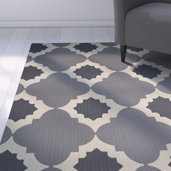 McGuinness Geometric Print Gray Indoor/Outdoor Area Rug by Wrought Studio