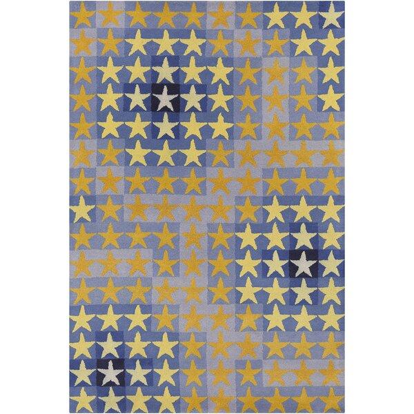 Blair Hand Tufted Wool Blue/Orange Area Rug by Zoomie Kids