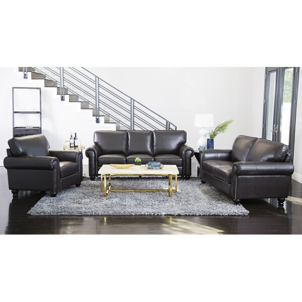 Bella Vista 3 Piece Leather Living Room Set by Three Posts