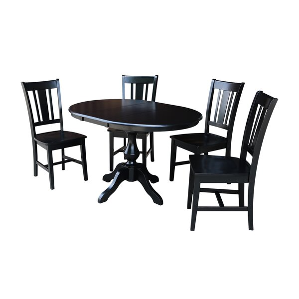 Damien 5 Piece Extendable Solid Wood Dining Set by Alcott Hill