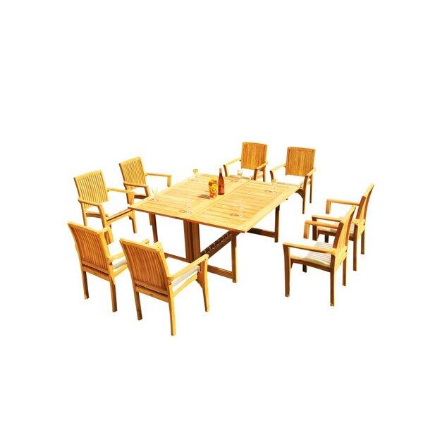 Massie 9 Piece Teak Dining Set by Rosecliff Heights