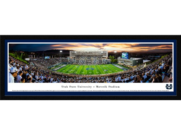 NCAA Utah State Football Stripe 50 Yard Line Framed Photographic Print by Blakeway Worldwide Panoramas, Inc