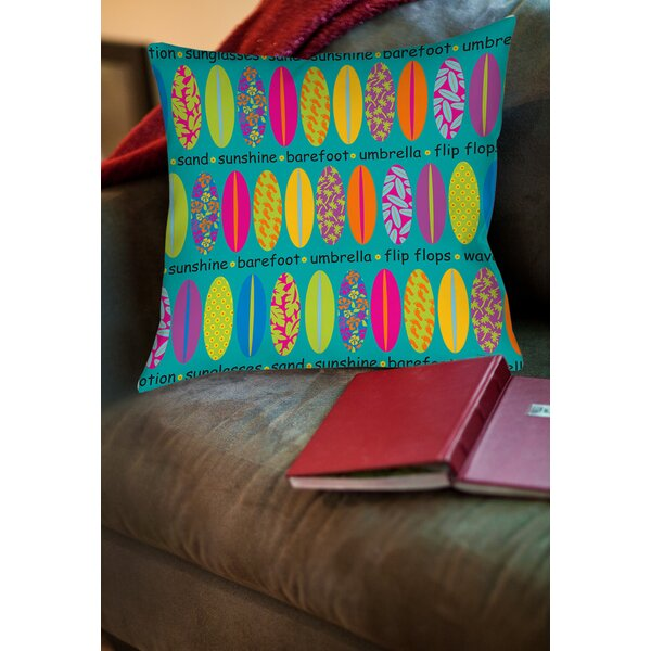 Surfs Up 1 Printed Throw Pillow by Manual Woodworkers & Weavers
