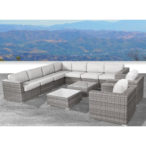 Deandra 11 Piece Sectional Seating Group with Cushions by Sol 72 Outdoor