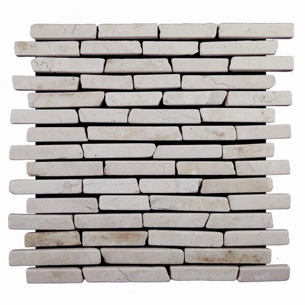 Sticks Random Sized Natural Stone Mosaic Tile in White by Pebble Tile