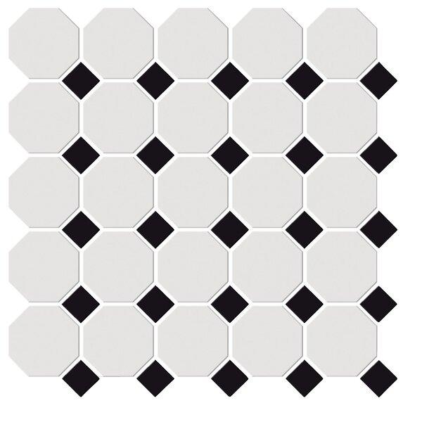 Shape Random Sized Porcelain Mosaic Tile in White/Black by Emser Tile