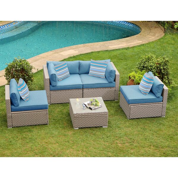 Iain Outdoor Furniture 5 Piece Rattan Sectional Seating Group with Cushions by Rosecliff Heights