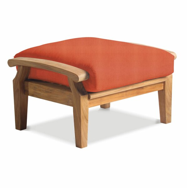 Lowery Deep Seating Outdoor Teak Ottoman with Cushion by Rosecliff Heights