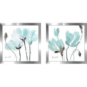 'Teal Magnolias I' 2 Piece Framed Print Set on Glass by Latitude Run