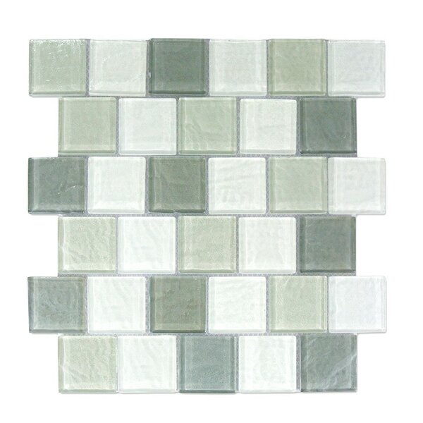 Geo 2 x 2 Glass Mosaic Tile in Blue Gray by Abolos