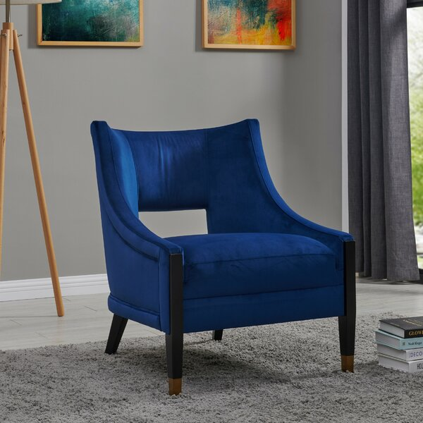 Kairo Velvet Fabric Armchair by Everly Quinn
