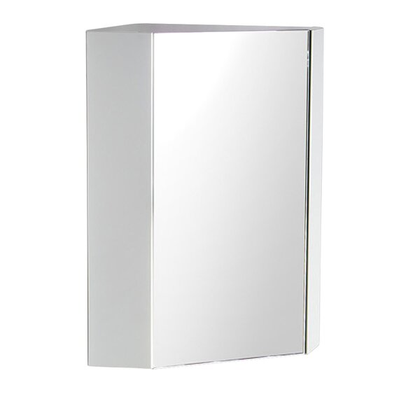 Coda Corner Mount Framed Medicine Cabinet with 2 Shelves