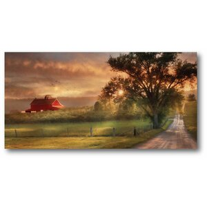 'Country Farm Sunset' Graphic Art Print on Wrapped Canvas by Courtside Market
