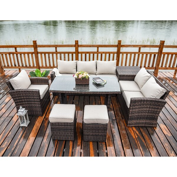 Messinger 7 Piece Rattan Sectional Seating Group with Cushions by Latitude Run Latitude Run