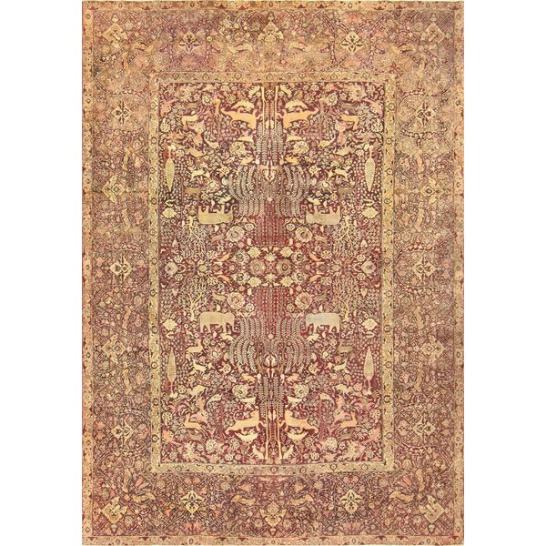 One-of-a-Kind Agra Hand-Knotted 1900s Gold 11'6 x 16'9 Wool Area Rug