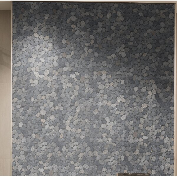 12 X 12 Marble Pebble Tile in Gray by Pebble Tile