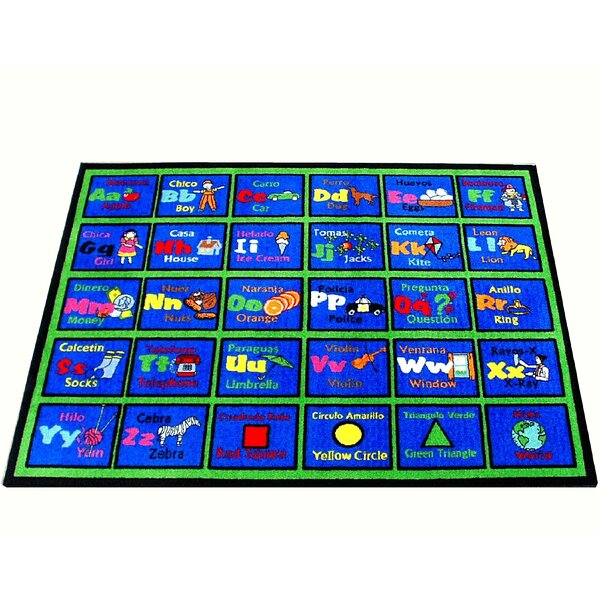 Learning Spanish Blue Area Rug by Kids World Carpets