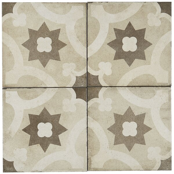 Encausto Hand Made Encaustic Look 8X8 Warm Blend Deco Tile in Sole by Itona Tile