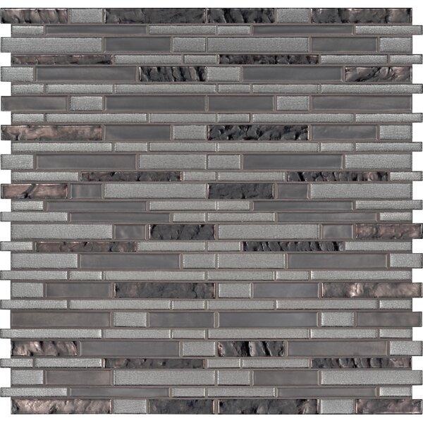 Zamora Interlocking Mesh-Mounted Glass Mosaic Tile in Gray by MSI