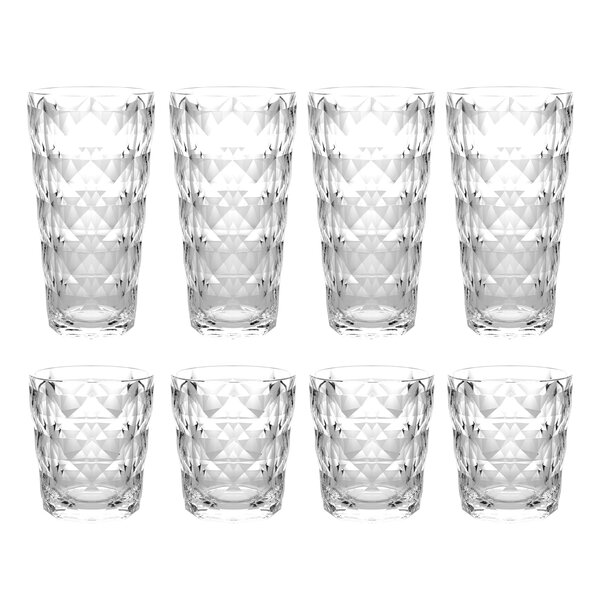 Bedias 8-Piece Acrylic Assorted Glassware Set by Ebern Designs