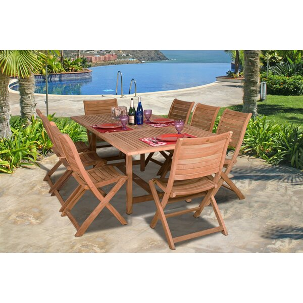 Elsmere 9 Piece Teak Dining Set by Beachcrest Home