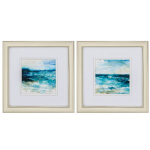 Ocean Break 2 Piece Framed Painting Print Set by Propac Images