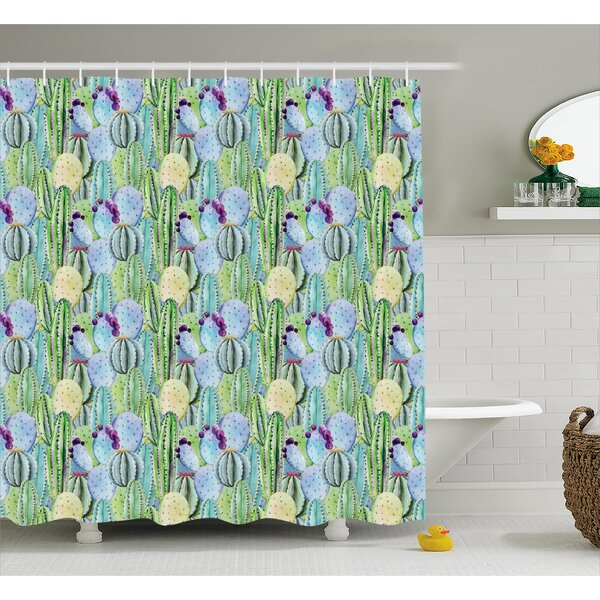 Dean Types of Cactus Plant Pattern With Flowers and Buds Fruits Artwork Image Shower Curtain by Bungalow Rose
