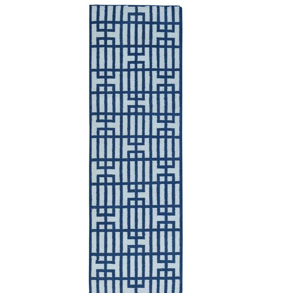 Reversible Flat Weave Kilim Hand-Knotted Ivory/Blue Area Rug by Wrought Studio